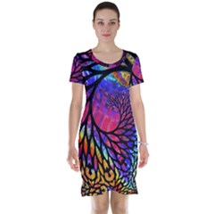 3d Fractal Mandelbulb Short Sleeve Nightdress
