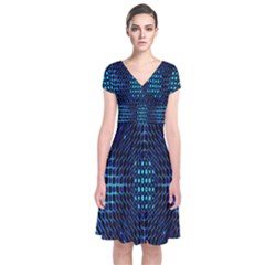 Vibrant Pattern Colorful Seamless Pattern Short Sleeve Front Wrap Dress