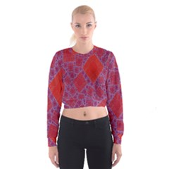 Voronoi Diagram Women s Cropped Sweatshirt