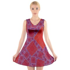 Voronoi Diagram V Neck Sleeveless Skater Dress