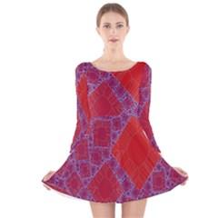 Voronoi Diagram Long Sleeve Velvet Skater Dress