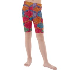 Abstract Art Pattern Kids  Mid Length Swim Shorts