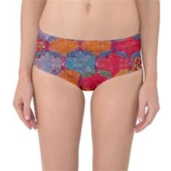 Abstract Art Pattern Mid-Waist Bikini Bottoms