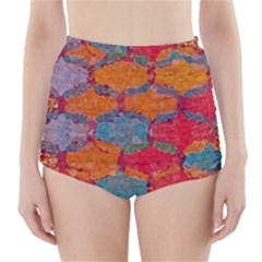 Abstract Art Pattern High Waisted Bikini Bottoms