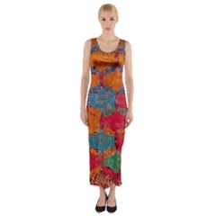 Abstract Art Pattern Fitted Maxi Dress