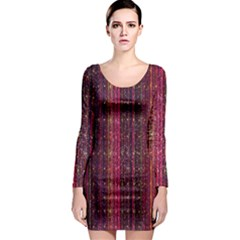 Colorful And Glowing Pixelated Pixel Pattern Long Sleeve Bodycon Dress