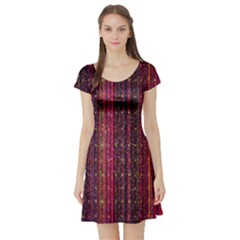 Colorful And Glowing Pixelated Pixel Pattern Short Sleeve Skater Dress