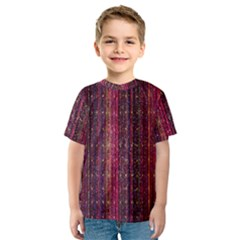 Colorful And Glowing Pixelated Pixel Pattern Kids  Sport Mesh Tee
