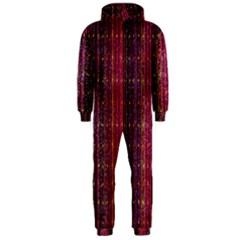 Colorful And Glowing Pixelated Pixel Pattern Hooded Jumpsuit (Men)