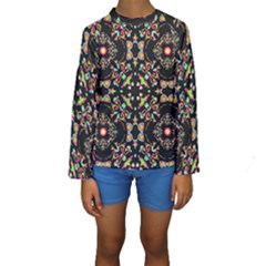 Abstract Elegant Background Pattern Kids  Long Sleeve Swimwear