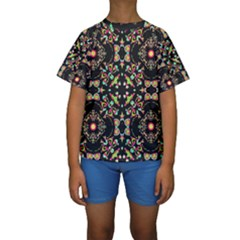 Abstract Elegant Background Pattern Kids  Short Sleeve Swimwear