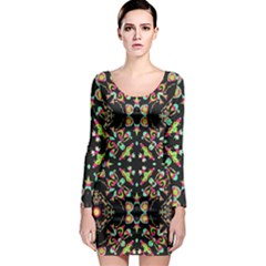 Abstract Elegant Background Pattern Long Sleeve Bodycon Dress