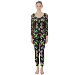 Abstract Elegant Background Pattern Long Sleeve Catsuit