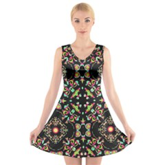 Abstract Elegant Background Pattern V Neck Sleeveless Skater Dress