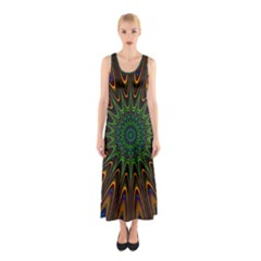 Vibrant Colorful Abstract Pattern Seamless Sleeveless Maxi Dress