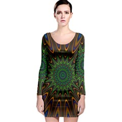 Vibrant Colorful Abstract Pattern Seamless Long Sleeve Bodycon Dress