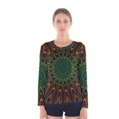 Vibrant Colorful Abstract Pattern Seamless Women s Long Sleeve Tee