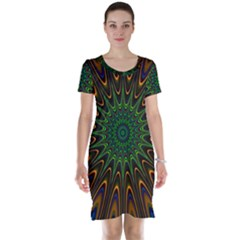 Vibrant Colorful Abstract Pattern Seamless Short Sleeve Nightdress