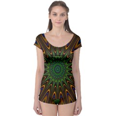 Vibrant Colorful Abstract Pattern Seamless Boyleg Leotard