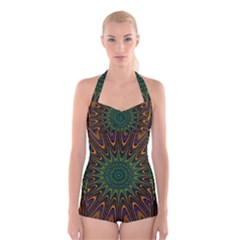 Vibrant Colorful Abstract Pattern Seamless Boyleg Halter Swimsuit