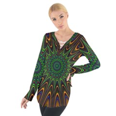 Vibrant Colorful Abstract Pattern Seamless Women s Tie Up Tee
