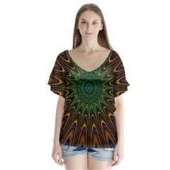 Vibrant Colorful Abstract Pattern Seamless Flutter Sleeve Top