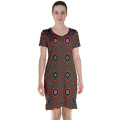 Vibrant Pattern Seamless Colorful Short Sleeve Nightdress