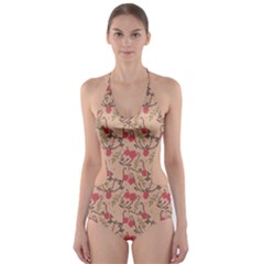 Vintage flower pattern  Cut-Out One Piece Swimsuit