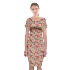 Vintage Flower Pattern  Classic Short Sleeve Midi Dress