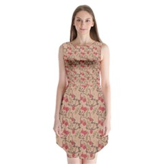 Vintage Flower Pattern  Sleeveless Chiffon Dress