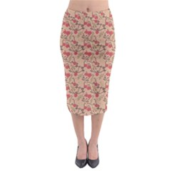 Vintage Flower Pattern  Midi Pencil Skirt