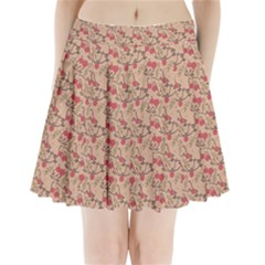 Vintage Flower Pattern  Pleated Mini Skirt