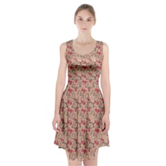 Vintage Flower Pattern  Racerback Midi Dress