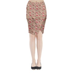 Vintage Flower Pattern  Midi Wrap Pencil Skirt
