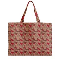 Vintage Flower Pattern  Medium Zipper Tote Bag