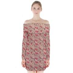 Vintage Flower Pattern  Long Sleeve Off Shoulder Dress