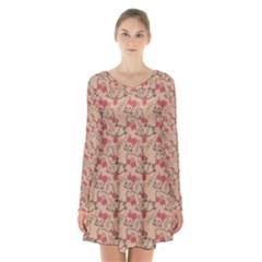 Vintage Flower Pattern  Long Sleeve Velvet V Neck Dress