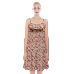 Vintage Flower Pattern  Spaghetti Strap Velvet Dress