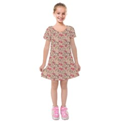Vintage Flower Pattern  Kids  Short Sleeve Velvet Dress