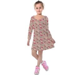 Vintage Flower Pattern  Kids  Long Sleeve Velvet Dress