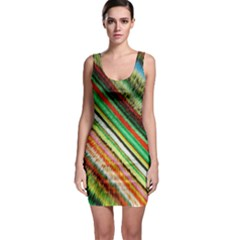 Colorful Stripe Extrude Background Sleeveless Bodycon Dress