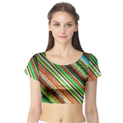 Colorful Stripe Extrude Background Short Sleeve Crop Top (Tight Fit)
