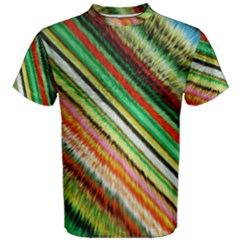 Colorful Stripe Extrude Background Men s Cotton Tee