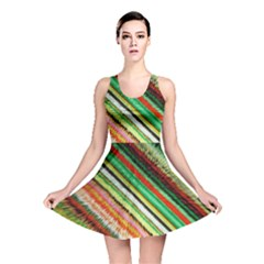 Colorful Stripe Extrude Background Reversible Skater Dress