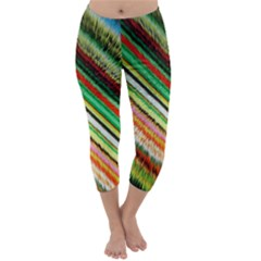 Colorful Stripe Extrude Background Capri Winter Leggings