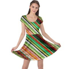 Colorful Stripe Extrude Background Cap Sleeve Dresses