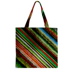 Colorful Stripe Extrude Background Zipper Grocery Tote Bag