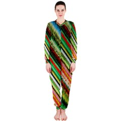 Colorful Stripe Extrude Background Onepiece Jumpsuit (ladies)