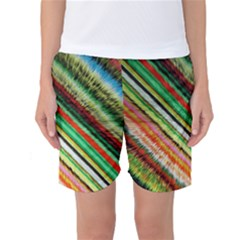 Colorful Stripe Extrude Background Women s Basketball Shorts