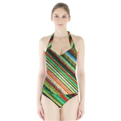 Colorful Stripe Extrude Background Halter Swimsuit